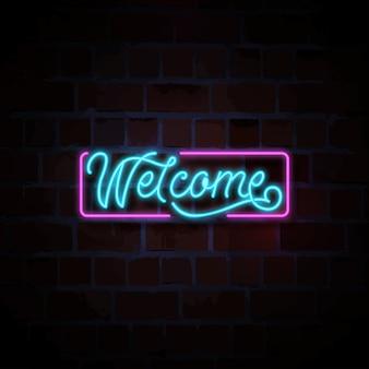 Bienvenido letrero de neón ilustración