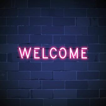 Bienvenido en letrero de neón