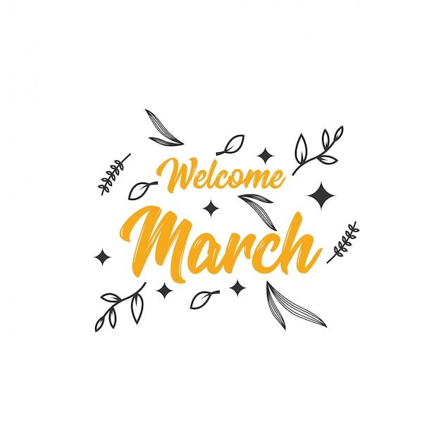Bienvenido marzo ilustración