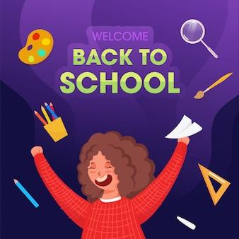 Bienvenido de nuevo al cartel de la escuela con la alegre chica estudiante con avión de papel y elementos de suministros decorados sobre fondo púrpura.