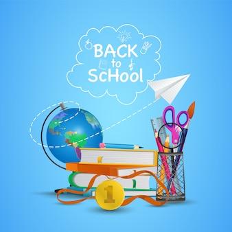 Bienvenido de nuevo al colegio. listo para estudiar. Vector Premium