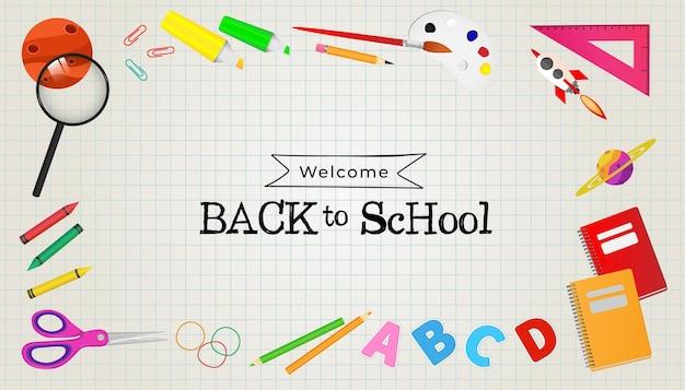 Bienvenido de nuevo al fondo de la escuela con equipos escolares listos para estudiar.