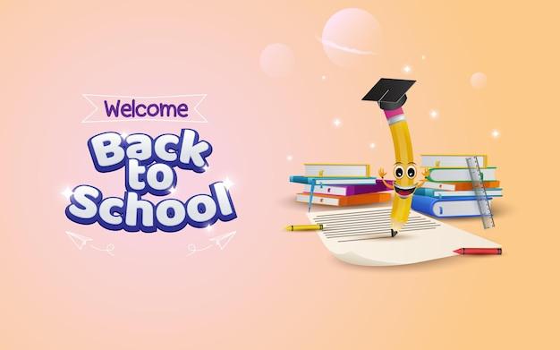 Bienvenido de nuevo al fondo de la escuela con lápiz escribiendo en papel listo para estudiar