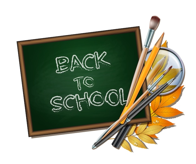 Bienvenido de nuevo a la escuela. artículos y elementos escolares. pizarra verde en marco de madera con hojas de otoño, bolígrafos, lápices, pinceles y lupa sobre fondo blanco.