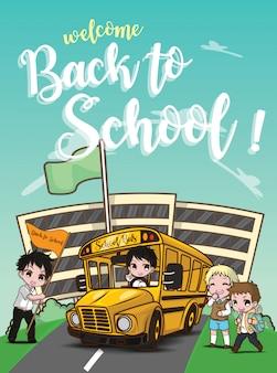 Bienvenido de nuevo a la escuela., autobús escolar en el camino.