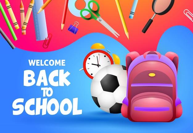 Bienvenido de nuevo a la escuela de diseño. balón de fútbol