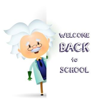 Bienvenido de nuevo a la escuela de diseño. profesor mayor personaje