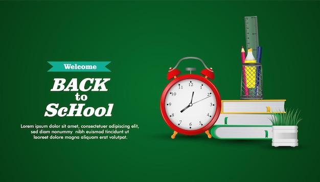 Bienvenido de nuevo a la escuela listo para estudiar reloj y equipo escolar