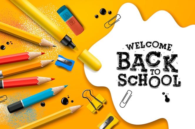 Bienvenido de nuevo a la escuela, póster y pancarta con lápices de colores y elementos para la promoción del marketing minorista y relacionados con la educación. ilustración.
