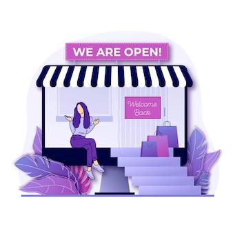 Bienvenido de nuevo estamos tienda abierta