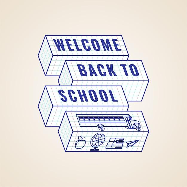 Bienvenido de nuevo a la etiqueta tipográfica de la escuela o insignia o plantilla creativa de póster.