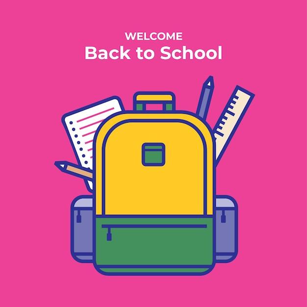 Bienvenido de nuevo a la ilustración de vector de escuela bolsa de estudiante con útiles escolares y elementos educativos
