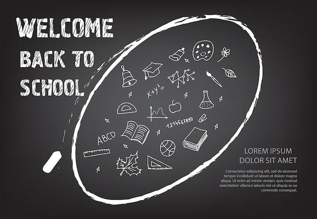Bienvenido de nuevo a las letras de la escuela y garabatos en tiza ovalada