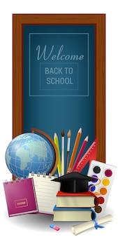 Bienvenido de nuevo a las letras de la escuela en marco, globo y suministros
