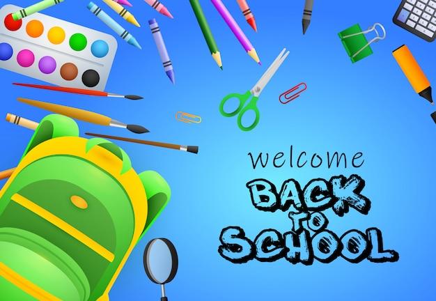 Bienvenido de nuevo a las letras de la escuela, pinceles, tijeras