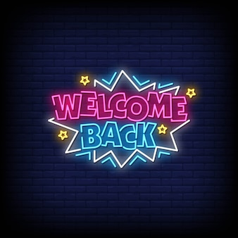 Bienvenido de nuevo letrero de neón
