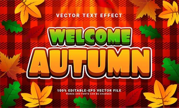 Bienvenido otoño efecto de texto editable en 3d adecuado para eventos temáticos de otoño