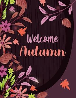 Bienvenido otoño hojas temporada fondo