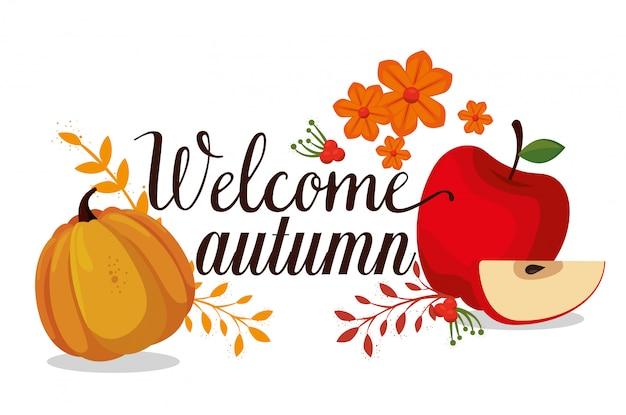 Bienvenido otoño temporada tarjeta