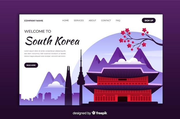 Bienvenido a la página de destino de corea del sur