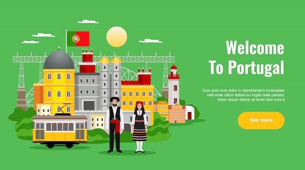Bienvenido a portugal banner horizontal con símbolos de transporte y cocina plana