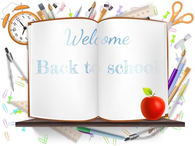 Bienvenido de regreso a la escuela con útiles escolares.