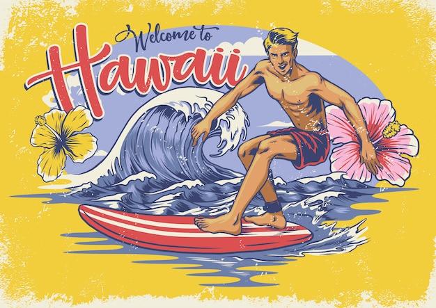Bienvenido surf hawaiano