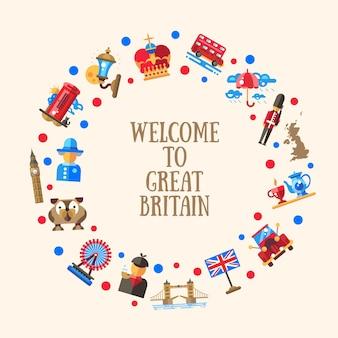 Bienvenido a la tarjeta circular de gran bretaña con símbolos británicos famosos