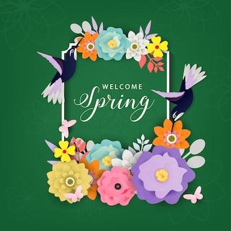 Bienvenido vector de fondo de primavera