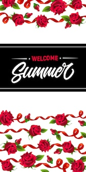 Bienvenido verano, banner con cintas rojas y rosas. texto caligráfico en rectángulo negro