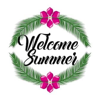 Bienvenido verano flor y rama hojas decoración de la palma