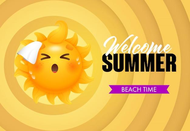 Bienvenido verano, letras en la playa con el personaje de dibujos animados sol