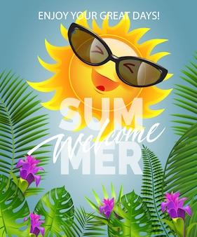 Bienvenido verano letras con sonriente sol en gafas de sol. oferta de verano