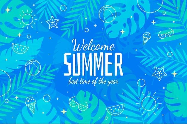 Bienvenido verano mejor temporada diseño plano fondo