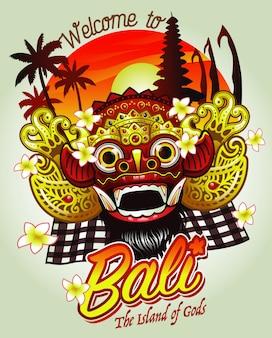 Bienvenidos a bali design con máscara barong.