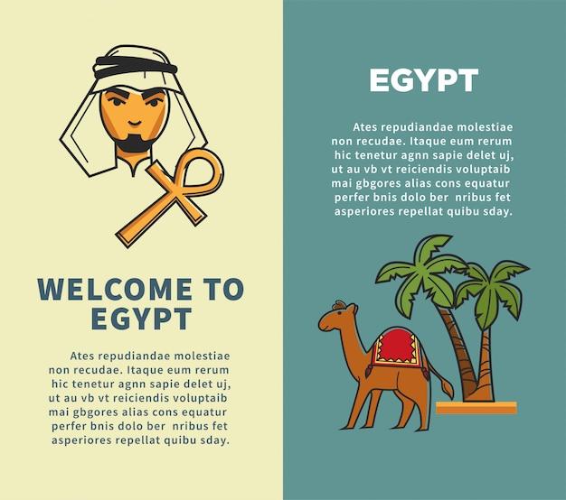Bienvenidos a egipto los carteles verticales con beduinos y camellos.