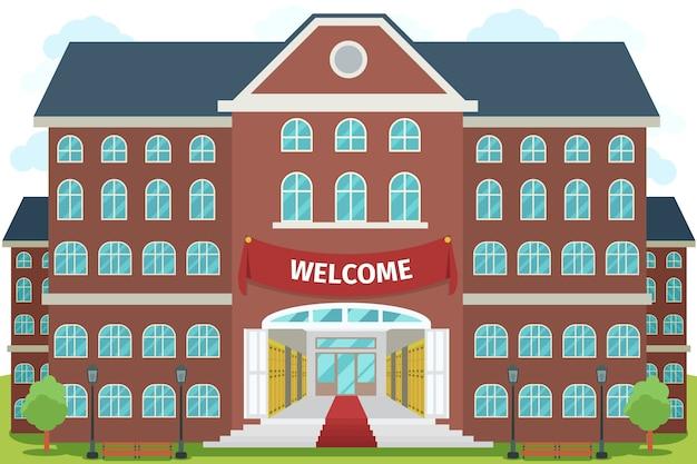 Bienvenidos a la escuela secundaria. estudio universitario, edificio de construcción de arquitectura, exterior y frontal,
