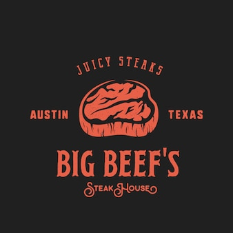 Big beef steak house retro label, emblema o plantilla de logotipo. tipografía vintage y textura en mal estado.