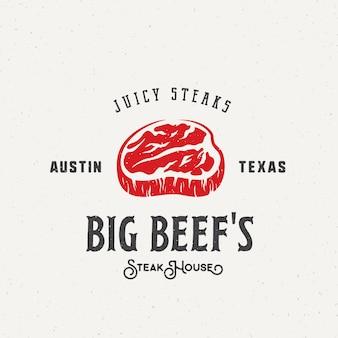 Big beef steak house vintage etiqueta, emblema o plantilla de logotipo. tipografía retro y textura en mal estado.