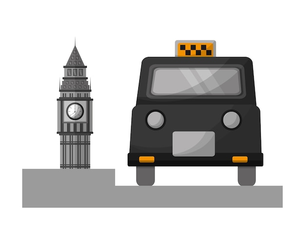 Big ben tower británico con taxi clásico
