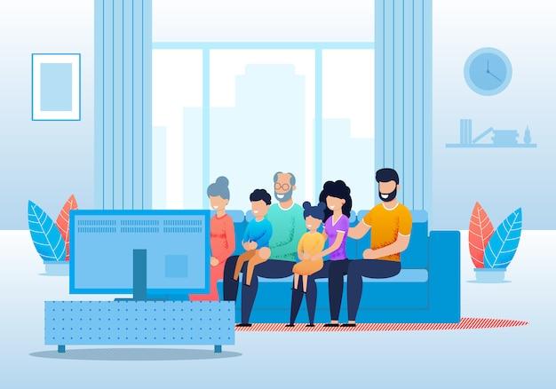 Big cartoon family viendo la televisión juntos
