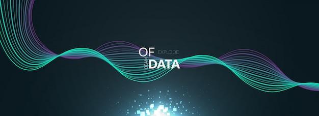 Big data con banner de onda colorida