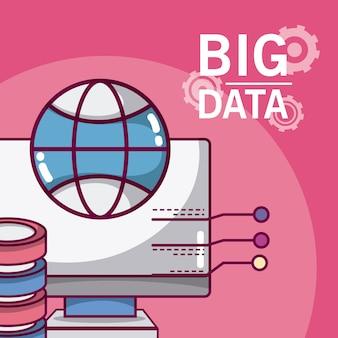 Big data computer con base de datos y esfera global