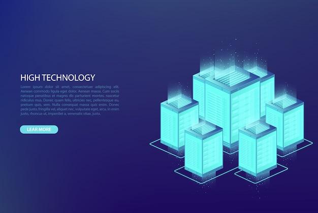 Big data, concepto de procesamiento de datos. centro de datos, base de datos en la nube, hosting.
