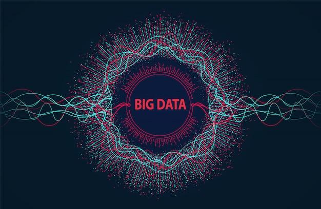 Big data. flujo de información visual desde puntos y líneas.