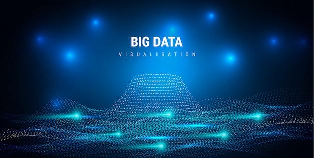 Big data información estética de diseño gráfico futurista. complejidad de la información visual. trama de hilos de datos intrincados. representación analítica de negocios. puntos de onda cuadrícula fractal. visualización de sonido.