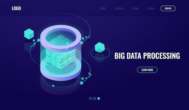Big data isometric, ciencia de la tecnología digital, sala de servidores, centro de datos de íconos de base de datos