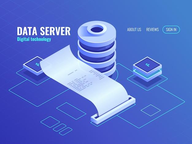 Big data procesa y analiza el icono isométrico, imprime información de salida de la base de datos