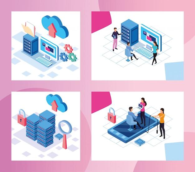 Big data technology con personas y dispositivos de diseño de ilustración vectorial