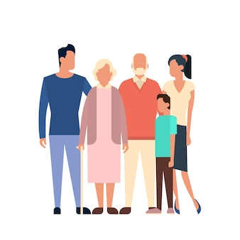 Big family kids parents grandparents generation